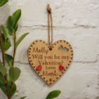 Personalised Will You Be My Valentine Love Heart, Red Hearts, Valentine's Day Gift